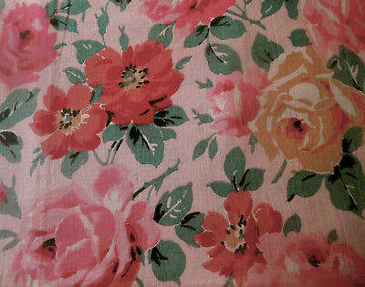 Antique French Time Faded Roses Floral Light Cotton Fabric ~ Pink Red Yellow