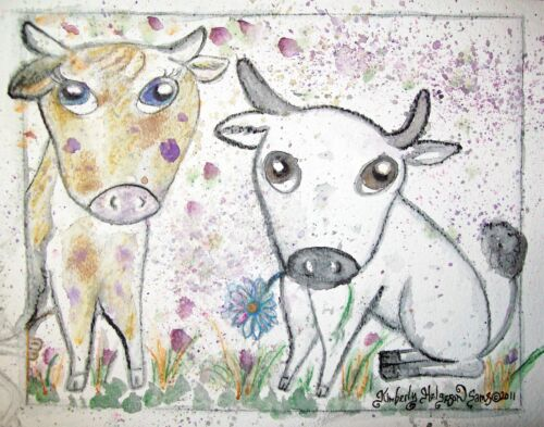 Cattle in the Garden Art Print 8x10 by Artist Kimberly Helgeson Sams Cows Bovine