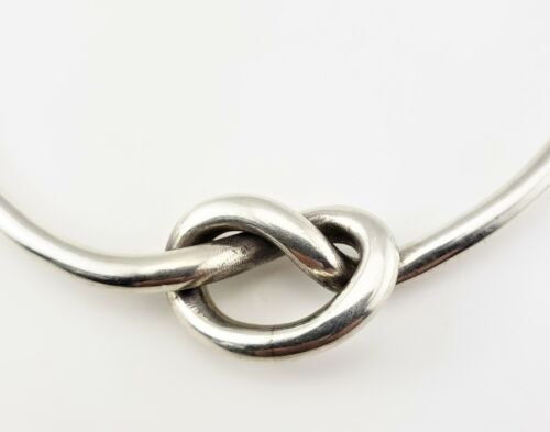 Vintage Egyptian Sterling Silver Love Knot Link Collar Necklace #7929