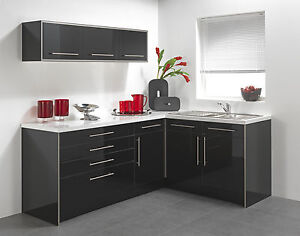 BLACK HIGH GLOSS VINYL KITCHEN CABINET DOORS  eBay