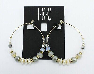 New Pair of Gold Grey & Natural Bead Gypsy Hoop Earrings by I-N-C #SE20