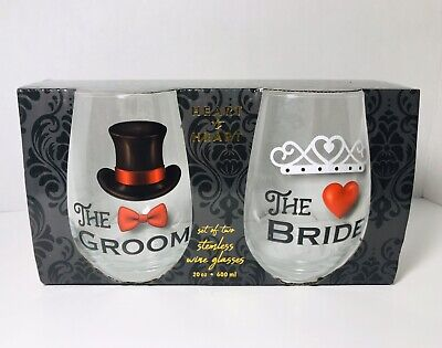 NEW HOME ESSENTIALS Heart To Heart Bride and Groom Stemless Wine Glasses