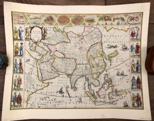 Vintage Map of Asia by The Famous Blaeu Family, 1662 Penn Prints Map