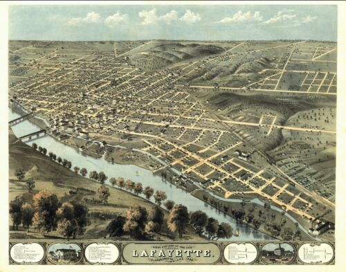 1868 LAFAYETTE INDIANA TIPPECANOE panoramic map GENEALOGY poster IN8