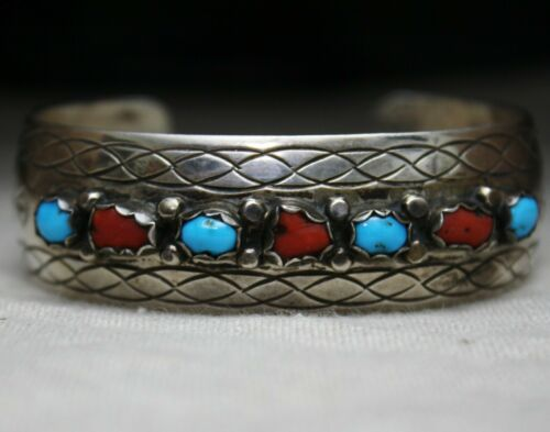 Vintage Native American Navajo Coral Turquoise Sterling Silver Cuff Bracelet