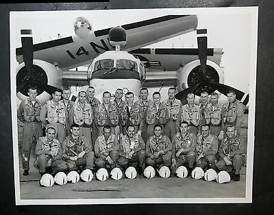 Vintage B&W Official Navy Photo Vietnam Era Aircrew Posing In Front of Plane