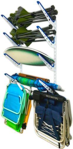 StoreYourBoard Beach Chair & Umbrella Wall Storage Rack Metal Adjustable 4 Level