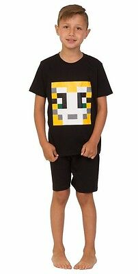 Boys Girls StampyLongNose Mr Stampy You Tube  Pyjamas BLACK SHORT PIXEL 7 TO 12 - Short Girls Tube