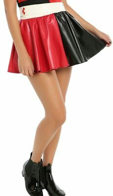 DC Comics faux Leather Harley Quinn PU Skirt Tutu cosplay Costume S/M L/X - Harley Quinn Leather Costume