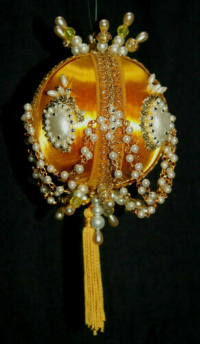 Vintage Handmade Ornate Gold Jeweled Beaded Pearl Satin Ball Christmas Ornament