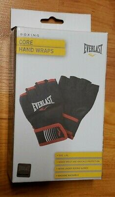Everlast mma Boxing Core Hand Wraps, Black Size L/XL NEW - model # P00002515