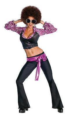 Disco Inferno Dancer Queen 70's Retro Fancy Dress Halloween Sexy Adult -