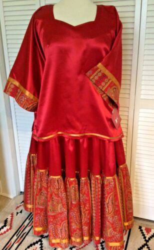 NATIVE AMERICAN REGALIA*GENUINE NAKODA GIRL/KETUKLA* SATIN DRESS 2X NOW $165.00!