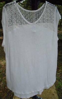 Old Navy Lace Cap Sleeve Tee Blouse Shirt Top White XXL Leaf Pattern Crochet