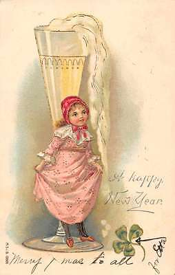 New Years Greetings Girl with Champagne Glass Antique Postcard J47196](New Years Champagne)