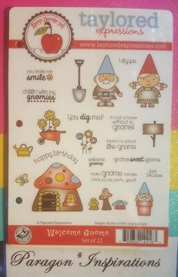 RARE Taylored Expressions WELCOME GNOME Stamp Set I Dig You Mushrooms Flowers (I Dig)