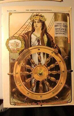 Original 1902 American Thresherman Ad Magazine Color Print Minneapolis Threshing