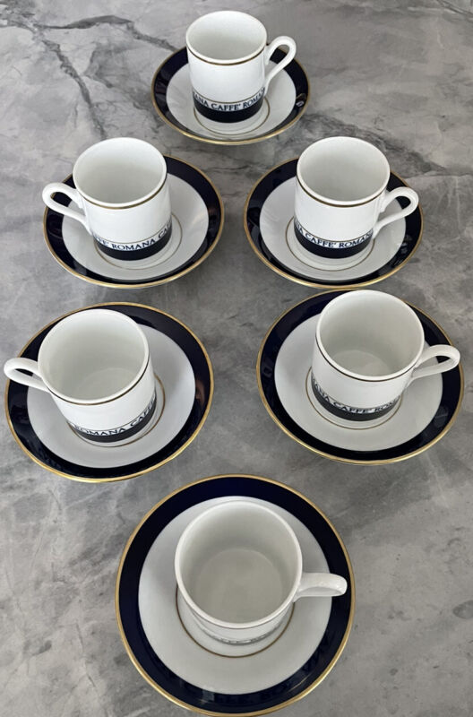 Richard Ginori Espresso Cups and Saucers Set of 6 Caffe Romana. Great Condition