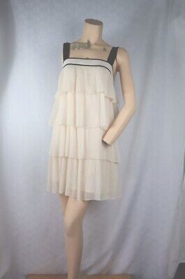White Flapper Dress (FRENCH CONNECTION Tiered Shift Dress Size 12 L Pleated Ivory Straps 1920)