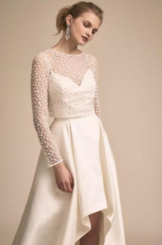 NEW BHLDN Jenny Yoo Amal Wedding Dress Top Topper Size XS or L Dainty Appliqué