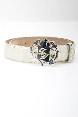 Domenico Vacca Mens Medium Width Belt Ivory Python Leather Size 36/90