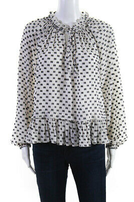 Rebecca Taylor Womens Ruffle V-Neck Long Sleeve Blouse Shirt White Silk Size 6