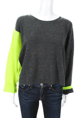 Brodie Womens Cashmere Color Block Sleeve Sweater Gray Neon Green Size Medium