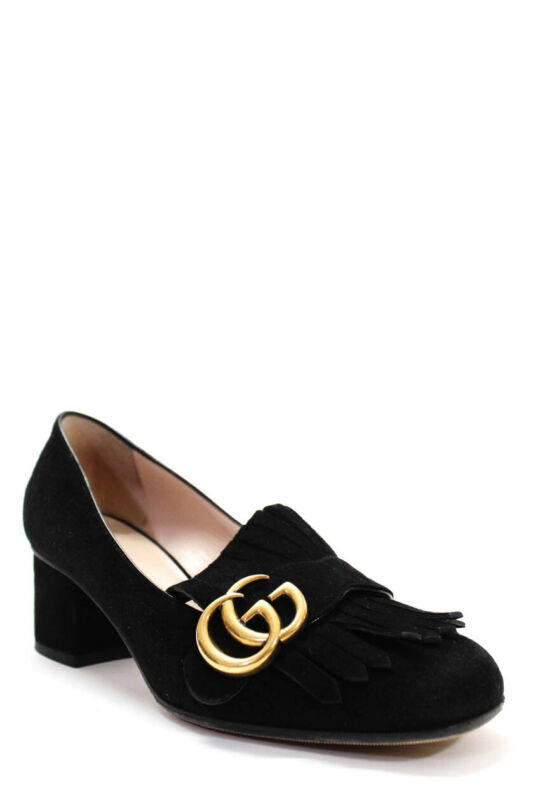 Gucci Womens Marmont Fringed Suede Loafers Block Heel Pumps Black Size 36.5