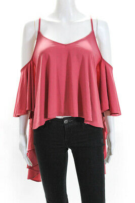 Leith Womens Jersey Cold Shoulder Long Sleeve Cropped Blouse Pink Size Xl
