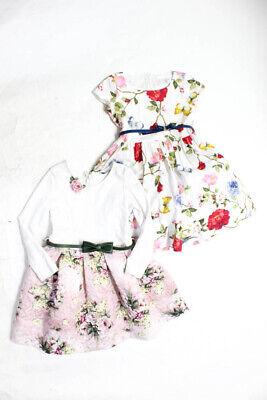 Monnalisa Girls Tulle Trim Scoop Neck Floral Formal Dress White Pink 6 Lot 2
