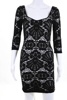 Intimately Free People Women's Stretch Knit Dress Black White Size Petite