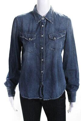 R13 Womens Long Sleeve Denim Button Down Collared Shirt Blue Size Medium