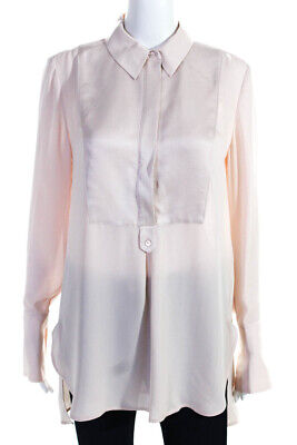 Vince Womens Silk Collared Long Sleeve Button Up Shirt Pink Size Small