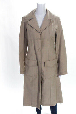 Hilfiger Collection Womens Crew Neck Button Down Trench Coat Beige Cotton Size 1