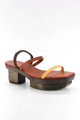 Cult Gaia Womens Leather Wood Platform Heels Sandals Brown Size 37 7