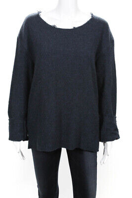 The Elder Statesman Womens Long Sleeve Scoop Neck Sweater Navy Cashmere Size XS