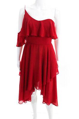 Keepsake Womens Off Shoulder Asymmetrical Hem Chiffon Dress Red Size Medium