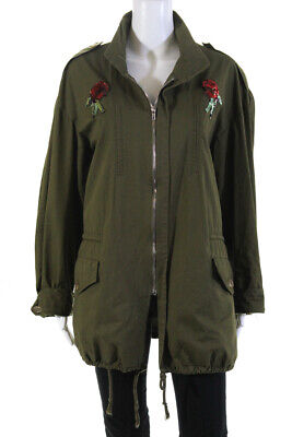 Endless Rose  Womens Zip Up Jacket Army Green Sequin Applique Size Medium
