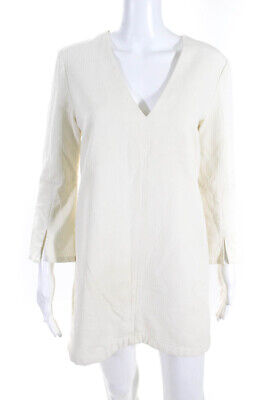 C/MEO Collective Womens Long Sleeve V-Neck Mini Shift Dress White Size Small