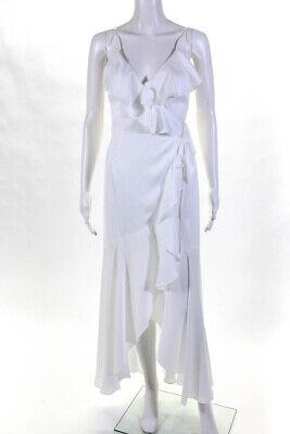 Shona Joy Womens Bias Frill Spaghetti Strap Wrap Dress White Size 2