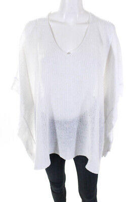 Eileen Fisher Womens Linen Knit Poncho Sweater White One Size