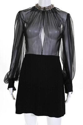 Alexander McQueen Womens Long Sleeve Jewel Neck Sheer Dress Black Size 42 IT
