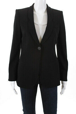 Giorgio Armani Womens Pinstripe One Button Blazer Black Size 36 Italian