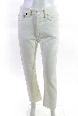 ACNE Studios Womens Straight Leg High Rise Jeans White Cotton Size 28