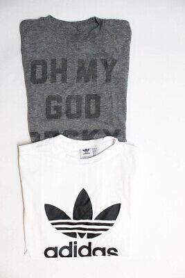 Adidas Womens Tee Shirts White Black Grey Cotton Size Large Lot 2