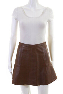 J Crew Women's Knee Length A-Line Skirt Leather Brown Size 0