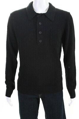 Tiger of Sweden Mens Long Sleeve Button Up Collared Sweater Black Size Medium