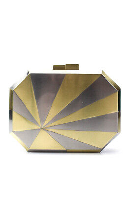 Nathalie Trad Womens Octagonal Magnetic Clutch Bag Gold Silver