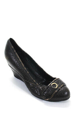 Fendi Womens Leather Round Toe Wedges Brown Size 38.5 8.5