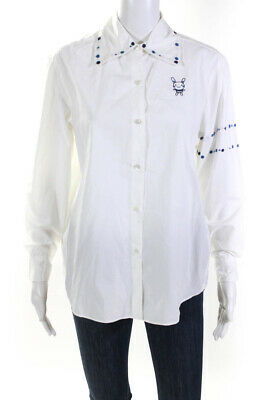 Jupe By Jackie Womens Embroidered Bunny Button Up Top White Size Small LL19LL